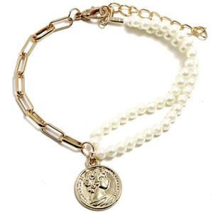الجمال رئيس عملة قلادة أساور شخصية أزياء المرأة سوار المرأة وأمريكا بسيطة مزدوجة اللؤلؤ مطرز المجوهرات