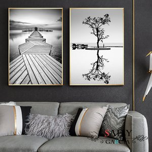 Nordic Style Prints Wall Art Black And White Tree Poster Minimalist Bridge Painting Canvas Modular Landscape Pictures Home Decor
