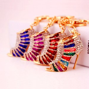 Colorful Craft Set High Heels Shoes Keychain Ladies Bag Accessories Metal Pendant Small Gift Jewelry
