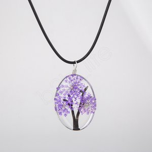Klassische Getrocknete Blumen-Halskette Frau Glasoval Tree of Life Terrarium Designer-Halsketten-Dame Jewelry Choker-Partei-Geschenk LJJA3722