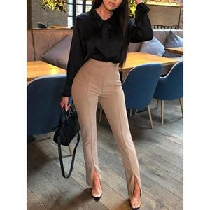 Fest Farbe mit hohen Taille Beutel-Hüfte-beiläufige Hosen Frauen Designer-Hosen der Frauen OL Art Füße Hosen Mode