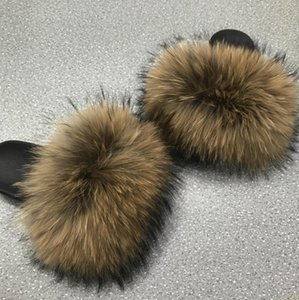 Women's Real Fur Fluffy Slippers Mixcolor Fur Slippers Fuzzy Home Slides Female Fashion Furry Flip Flops Summer Beach Shoes