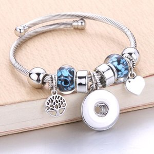 Wholesale Silver Elastic Bracelet Snaps Jewelry Bangles 18mm Charms Beaded Bracelet Snap Jewelry fit 18mm Snaps Buttons 80401