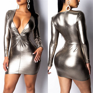Silver Bronzing Women Dresses Club Sexy Slim Dark V Neck Long Sleeved Bodycon Dresses Fashion Womens Party Dresses