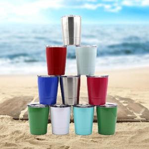 8 ألوان 9oz كأس حليب الاطفال الفولاذ المقاوم للصدأ البن القدح Stemless النبيذ الزجاج البيرة القدح مع اغطية وسترو CCA11283 25pcsN