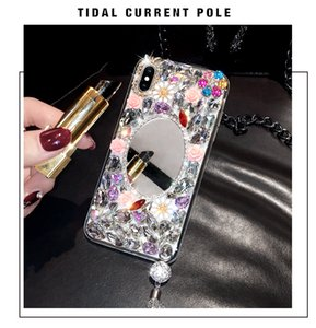 DIY Mirror Bling Diamond Flower Case Cover With Crystal Tassel Pendant For Samsung Galaxy Note 10 Plus 9 8 S20 Ultra S10E S20 S10 S9 S8 Plus