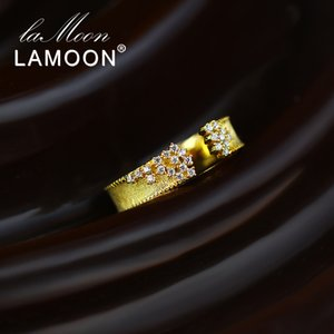 LAMOON 925 سيلفر ستارز أنيقة حزام قابل للتعديل خمر 14K مطلية بالذهب تشيكوسلوفاكيا كريستال مجوهرات للنساء MOM هدية LMRI146