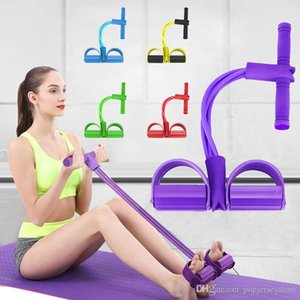 US STOCK Fitness Gum 4 Tube Resistance Bands Latex Pedal Exerciser Sit up Pull Rope Expander Elastic Bands Yoga equipment Pilates l FY7009