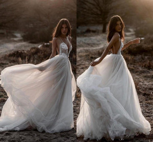Berta 2020 New Beach sexy robes de mariée spaghetti Backless dentelle Tulle Robes de mariée Taille Bohème plus Pays De Novia BC1711 Vestido