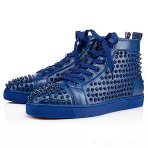 Red Bottom Designer Shoes High Cut Spike Top Version Cow Sedue Vitello Sneaker Luxury Party Wedding Scarpe in vera pelle scarpe casual