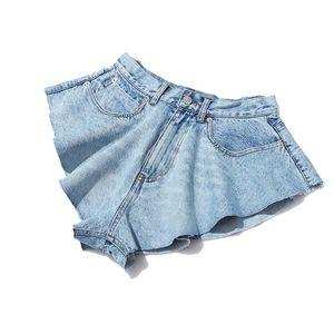 TWOTWINSTYLE Casual Denim Shorts Gonne a vita alta Ruffle Hem sciolti balze Pantaloni corti femminile Abbigliamento Abbigliamento 2020 Spring Tide CX200605