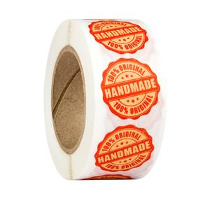 1000 adet 1 inç kağıt el yapımı kağıt yapışkanlı etiket etiket el yapımı DIY kutusu mühür etiket teşekkür ederim hediye etiket etiket fiyat kartı sticker