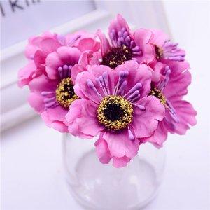 6 stücke / bouquet 3,5 cm Mini Seide Kirsche Künstliche Bouquet DIY Handgemachte Tattoo Kranz Sammelalbum Hochzeit Dekoration Handwerk Gefälschte Blume