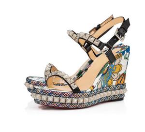 Lüks Deri Kırmızı Alt Bayanlar Sandalet Bilek Kayışı Toka Kayış Pira Ryad klasik sandal yazlık Siyah leather110 mmwedge platformu tabanı