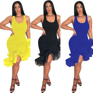 Kadın latin dans parti seksi yelek etek orta buzağı uzunluğu ruffles dress düzensiz organze fishtail etek kolsuz kayış elbiseler 2019 c425
