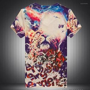Imprimer Mens T-shirt Designer V cou coloré ciel étoilé à manches courtes Casual Mens T-shirts Lion numérique 3D