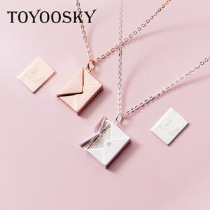 Toyoosky حقيقي 925 الفضة الاسترليني قلادة قلادة المرأة مغلف عاشق رسالة قلادة أفضل الهدايا لصديقة J190526