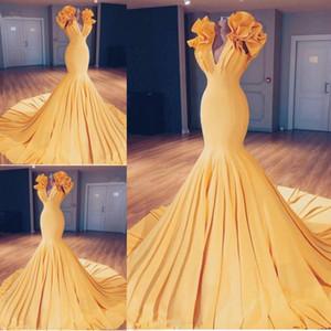 Ruffles Mermaid Prom Dresses 2019 Giallo scollo a V scollo senza maniche Abiti da sera Sweep Train economici Cocktial Party Dress Custom Made