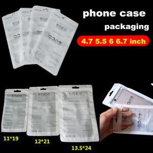 12 * 21 cm Klare weiße Zip-Lock-Handy-Zubehör-Koffer-OPP-Verpackung PVC-Tasche für den Fall iPhone 4.7 5.5 6 Zoll Polykunststoff-Einzelhandelspakete