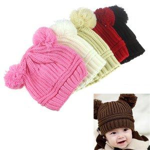 Yeni Geliş Moda Kış Sıcak Bebek Çocuk Kız Erkek Cap Şapka Sevimli Kız Erkek Çift Toplar Örme Cap Şapka Beanie Çocuk Caps Şapka