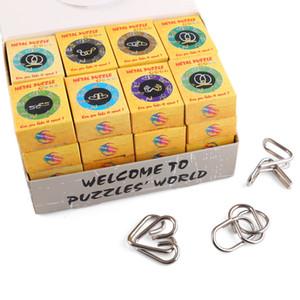 32 pcs Clássico Inteligente Montessori Fio De Metal Quebra-cabeça Confuso Cérebro Teaser Anéis Mágicos Jogo Brinquedos Para Crianças Adultas Presentes Presentes SH190715