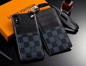 Couro manta destacável Carteira Cadeia tampa traseira Pulseira Pulseira Correia Checkerboard coldre de telefone Shell para o iPhone 11 Pro XS Max XR 8 7