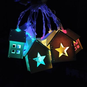1.6M 10pcs LED Christmas Tree Wood House Fairy Led String Light wedding New Year christmas Gifts decorations Luminous Toys Drop T191022
