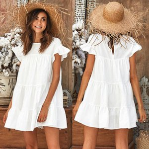 2018 женская мода лето свободного покроя с коротким рукавом вечернее платье пляж мини-платье новые дамы чистый цвет короткие платья свадебные платья