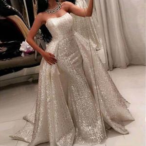 Sparkly Arábia Árabe Vestidos de Noite 2019 Sereia Querida Com Destacável Sobre a Saia Sweep Train Vestido de Baile