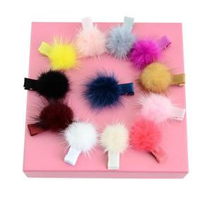12 Farben Kleine niedliche reizender bunter Pelz-Kugel-Mädchen feste Haarspange Kinder Haarnadeln Haarschmuck Schönes Geschenk für kleine Mädchen A51