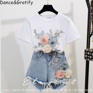 T-shirt Moda Cotton Tops Short Jeans 2 Pieces Define 2019 New Verão estilista para mulheres Denim Pants 3D Flores Beading Suit