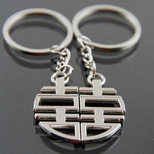 -Chaves encantos amantes homem-chave sacos cadeia Mulheres Key Ring for Pants Double Happy Titular Pendant Character Alloy Brelok
