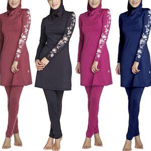 das mulheres muçulmanas burkini Swimwear Plus Size Swimsuit Hijab Muslimah islâmica Swimsuit 2 Pieces cobertura completa Hijab Swimwear S-4XL