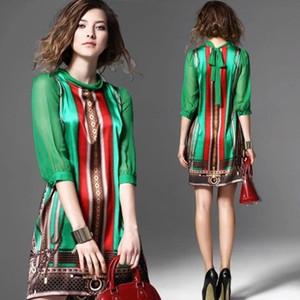 Оптовая роскошь мода летнее шифоновое платье женщин 2021 взлетно-посадочная полоса красивые дамы casul офис деловая печать мини платья элегантный дизайнерский коктейль выпускная одежда