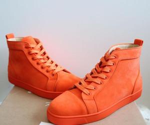 [Первоначально коробка] Элегантный дизайнер оранжевая, синяя замша Туфли с красной подошвы тапки для женщин, мужчины Luxury Casual Walking Red Sole Досуг Квартира