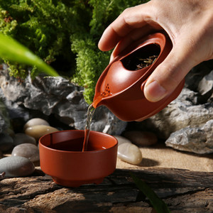 Argilla viola teiera, 1 teiera tute 1 tazza di Kung Fu tè insieme, viaggi ufficio tè portatile set di Kung Fu tazze di tè teiera accessori