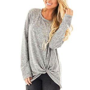 2019 Sıcak Kadınlar Yuvarlak boyun uzun bükülmüş En Popüler Basit Bluz Gevşek Pamuk Lady T-shirt Kol