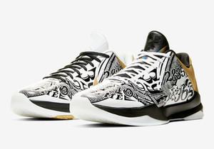 Top qualidade Homens Mamba V Protro Big Stage Lakers Sneaker 5 tênis de basquete Black Mamba sapatilhas do desenhista 2k de luxo com caixa Size7-12