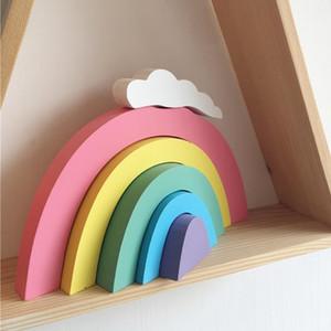 Madeira do arco-íris Blocos de Construção Decoração para Quarto Kid Ornaments Decoração Nordic estilo de jogo presentes decoração de festa Brinquedos parede
