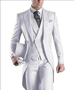 3 piece Wedding Tailcoat Peaked Lapel Custom White Men Suits for Groomsmen New Arrival (Jacket + Pants + Vest )