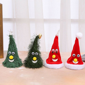 1pc Electric Christmas Hat Plush Toy Children Toys Gift Sing Glowing Swing Music Xmas Hats for Christmas Tree Decoration