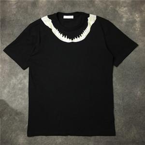 Herren T-Shirt Männer-Frauen-Qualitäts Baumwoll-T-Shirt neue Art und Weise der Männer Haifisch-Zahn-Druck-T-Shirt