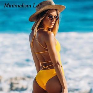 Minimalismo Le One Piece Cruz Bandage Swimsuit Sólidos Swimwear Mulheres Backless Sexy Verão Maiô Maillot Bikini