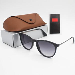 2018 1 adet Moda Yuvarlak Güneş Gözlüğü Gözlük Güneş Gözlükleri Tasarımcı Marka Siyah Metal Çerçeve Koyu 50mm Lensler Mens Womens Için Daha Iyi Kahverengi Kılıfları
