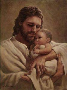 # A057 Del Parson en los brazos de SU AMOR Decoración Jesucristo detiene al bebé impresión de HD pintura al óleo sobre lienzo de arte cuadros de la pared 200110