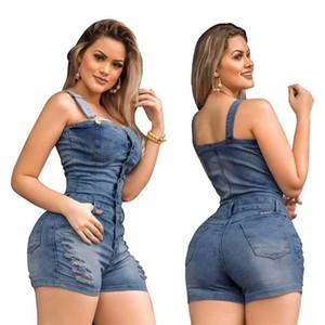 Magro mangas Jeans Macacão Denim Playsuit por Mulheres 2020 Buttons Plus Size Elegância algodão Jeans Mulher senhoras Short Romper