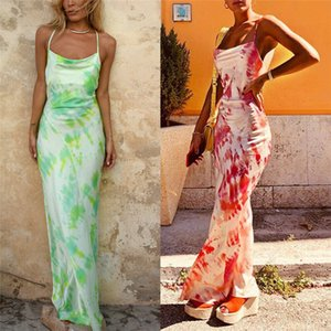 hirigin 2020 Fashion Women Bandage Bodycon Sleeveless Dress Clubwear Backless Strap Beach Print Evening Party Long Maxi Dresses