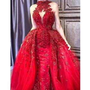 2019 Glamorous Red Detachable Train Evening Dresses 3D floral High Neck Appliques Beaded Red Carpet Dress Abric DuBai Celebrity prom Gown