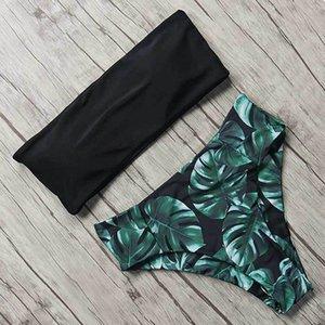 MOSHENGQI Sexy Floral Ensemble bikini maillot de bain taille haute Mujer Maillot de Bain Maillots de bain femmes noires Push-Up Feuille brésilienne Biquini T200508