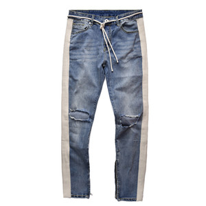 April Momo 2019 Hommes Déchiré Trou Skinny Denim Jeans Pantalon Pop Pantalon Pantalon De Survêtement Streetwear Hommes Crayon Pantalon Pantalon Hombre Y19072301